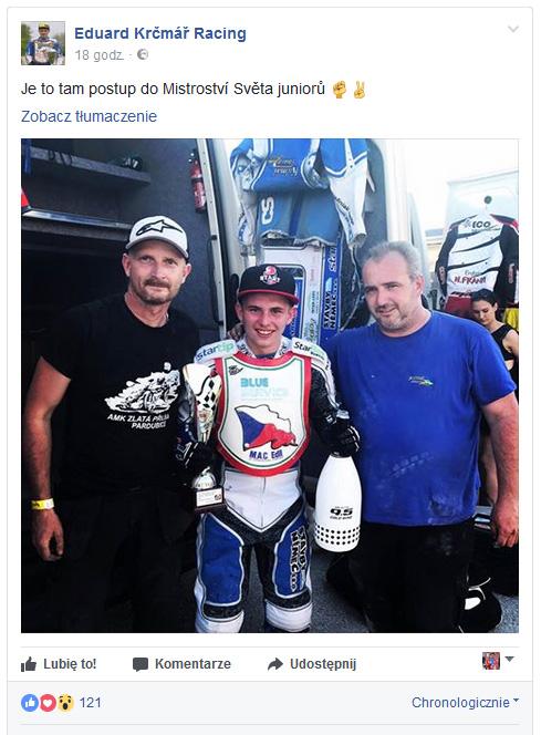 Eduard Krcmar ze swoim teamem po zawodach w Terenzano (fot. FB żużlowca)